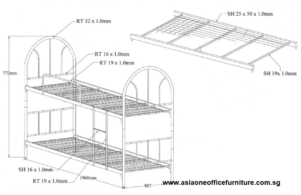 Metal Bunk Bed - Drawing