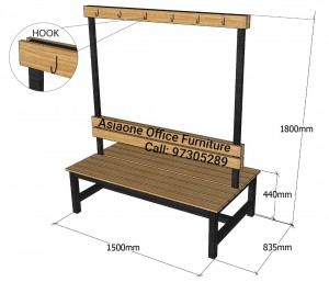 Double Sided Wooden Bench with cloths hook