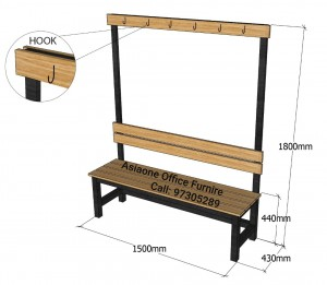 Single Sided Wooden Bench with cloths hook